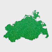 Mecklenburg-Vorpommern German State Map Green Hexagon Pattern