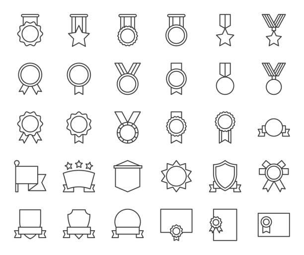 bildbanksillustrationer, clip art samt tecknat material och ikoner med medalj och badge mall, kontur-ikonen - komposition