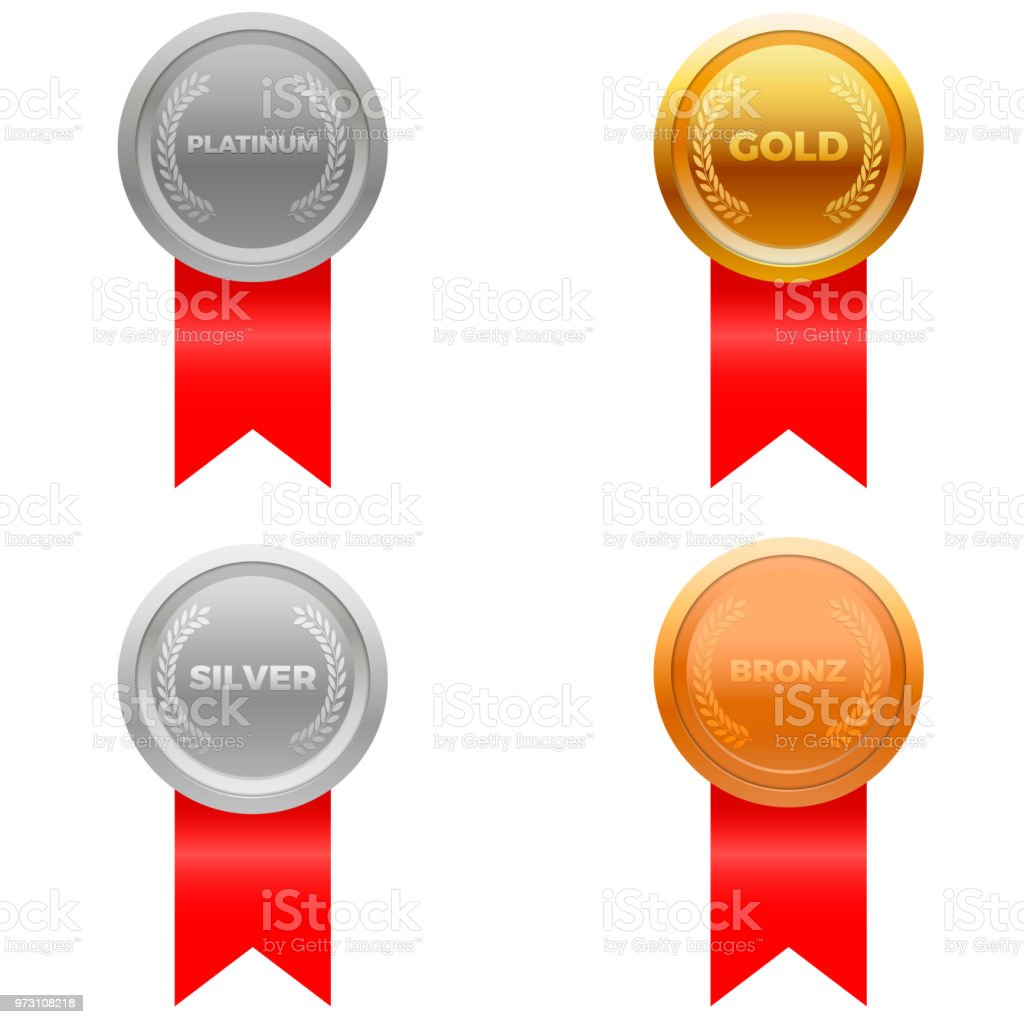 Medal Award Vector In Four Colors Platinum Gold Silver And