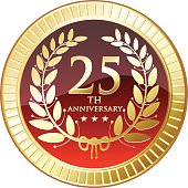 Twenty-fifth anniversary golden medal with a laurel.