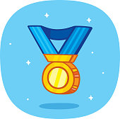 Vector illustration of a hand drawn gold medal against a blue background.