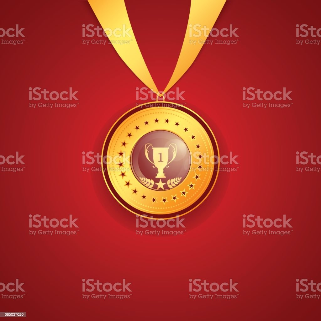 medal first place on a red background vector art illustration