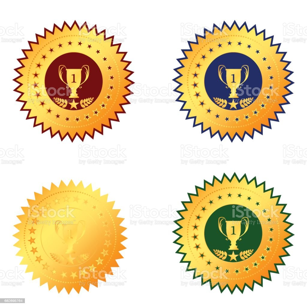 medal first place on a white background vector art illustration