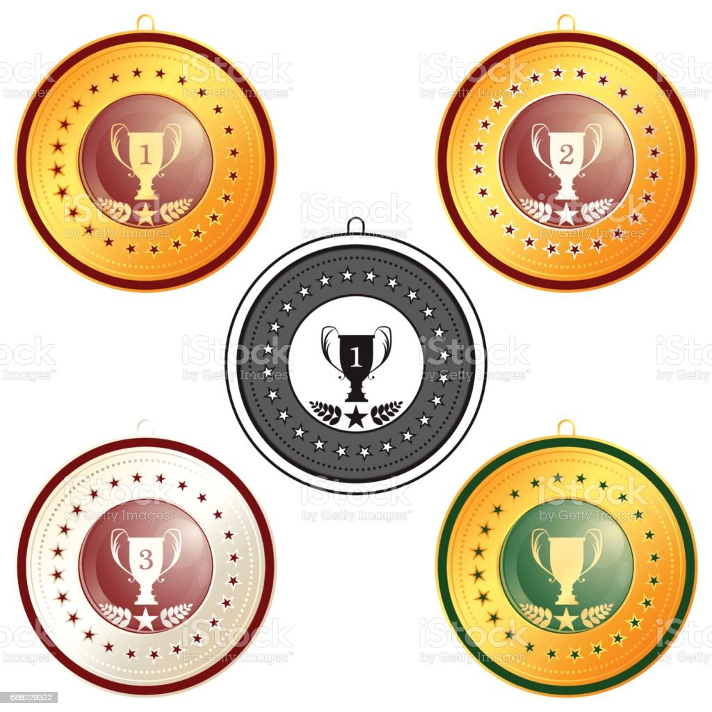 medal first, second and third place on a white background vector art illustration