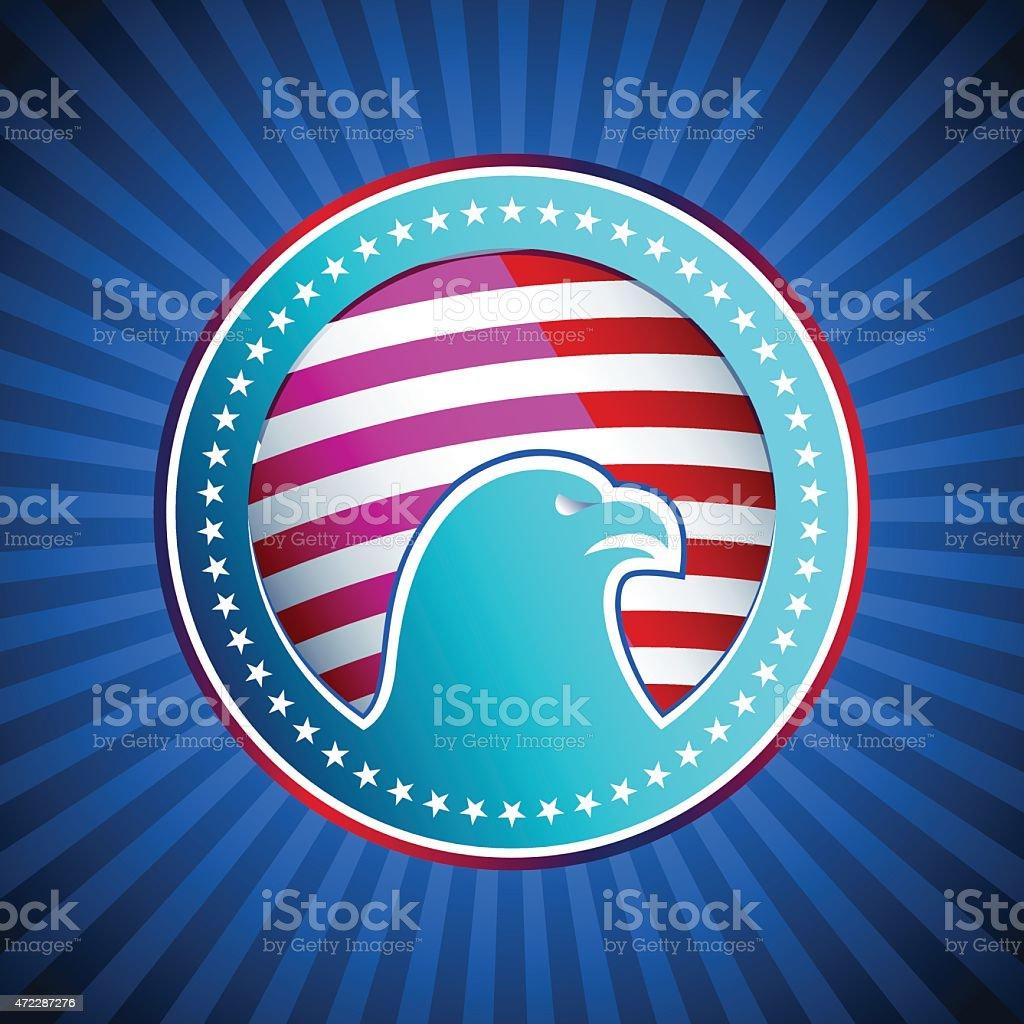 Medal Flag Eagle US America Background Head vector art illustration