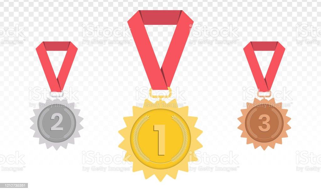 メダル 金銀銅1位2位3位赤いリボンのトロフィーフラットスタイル ストックベクトル 3位決定戦のベクターアート素材や画像を多数ご用意 Istock