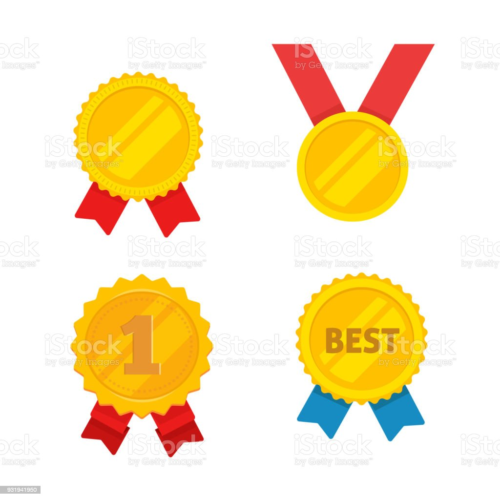 Medal Gold Vector Set Flat Cartoon Golden Medallion Award Symbol Achievement Badge Isolated Clipart Stock Illustration Download Image Now Istock