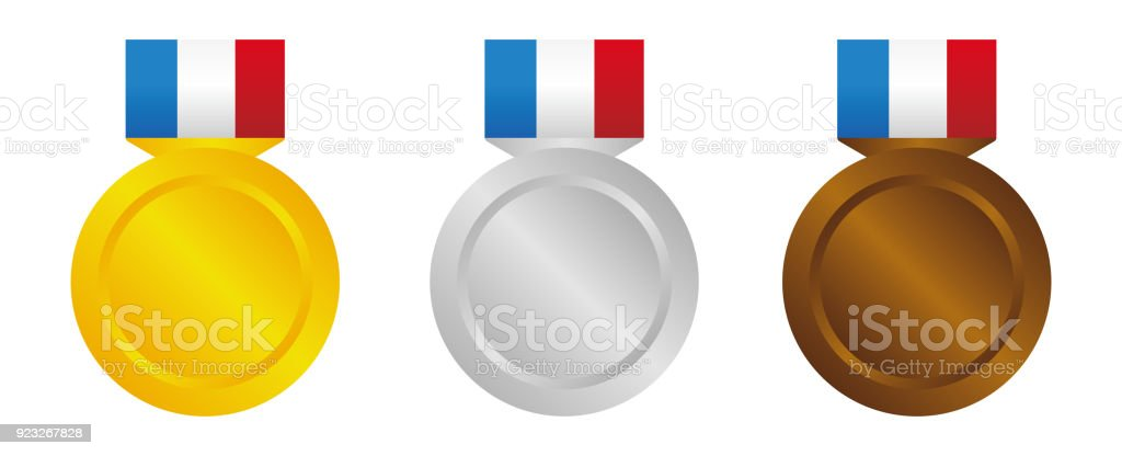 Medal Icon Illustration Set Three Colors Stock Vector Art
