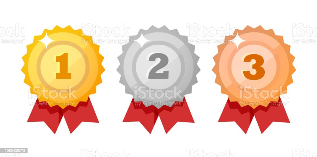 Conjunto de ícones de medalha isolado no branco. Competição prêmios estilo plano - elementos de design do vetor. - Vetor de Branco royalty-free