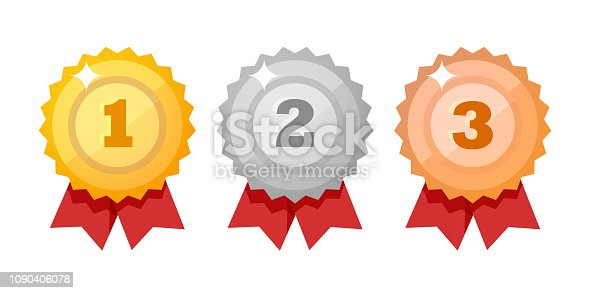 Medal icon set isolated on white - Vector design elements. Gold, silver and bronze competition Awards flat style.