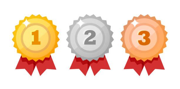 獎牌圖示設置隔離在白色。競賽獎扁平風格. 向量設計項目。 - 成功 幅插畫檔、美工圖案、卡通及圖標