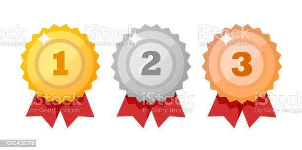 Vetores de Conjunto De Ícones De Medalha Isolado No Branco Competição Prêmios Estilo Plano Elementos De Design Do Vetor e mais imagens de Branco