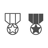 Medal line and solid icon. Army reward, soldier star of honor symbol, outline style pictogram on white background. Military sign for mobile concept and web design. Vector graphics.