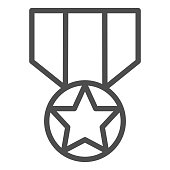Medal line icon. Army reward, soldier star of honor symbol, outline style pictogram on white background. Military sign for mobile concept and web design. Vector graphics.