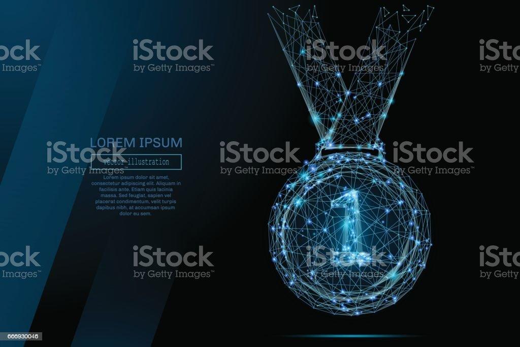 Medaille low-Poly blau – Vektorgrafik