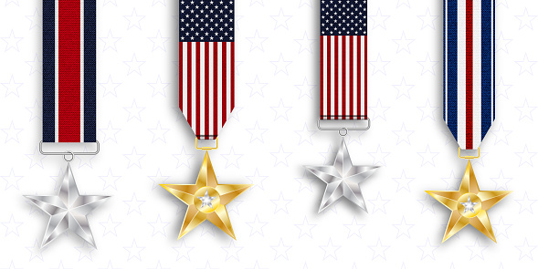 Medal of honor. Silver star. Memorial day. National holiday of the USA.