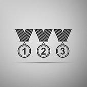 Medal set icon isolated on grey background. Winner simbol. Flat design. Vector Illustration