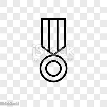 Medal vector icon on transparent background, Medal icon
