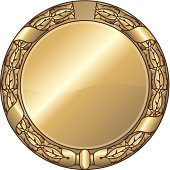 Blank medal with tradtional embossed imperial laurel wreath.