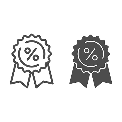 Medal with ribbons and percent line and solid icon, shopping concept, Discount tag sign on white background, low price guarantee with percent symbol in outline style for mobile, web. Vector graphics.