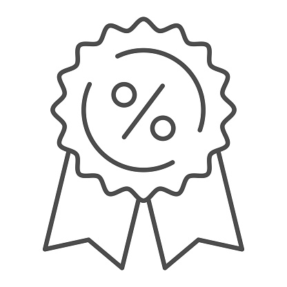 Medal with ribbons and percent thin line icon, shopping concept, Discount tag sign on white background, low price guarantee with percent symbol in outline style for mobile, web. Vector graphics.
