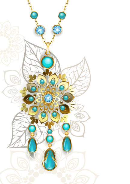 medaillon mit türkis - modeschmuck stock-grafiken, -clipart, -cartoons und -symbole