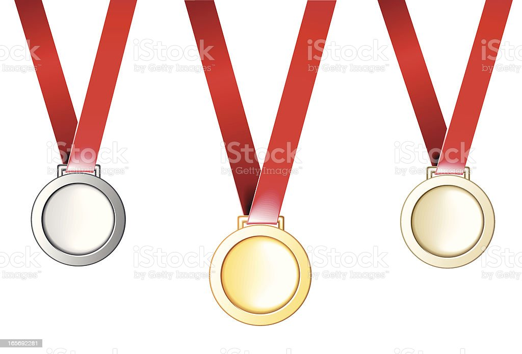 Medals: 1st, 2nd and 3rd places royalty-free stock vector art