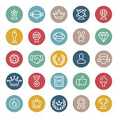 Success, Achievement and Trophy vector icons