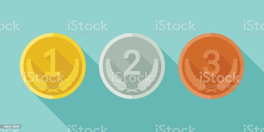 Medals from gold, silver and bronze royalty-free medals from gold silver and bronze stock vector art & more images of achievement