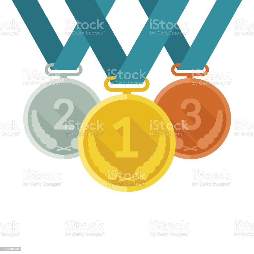Medals from gold, silver and bronze vector art illustration