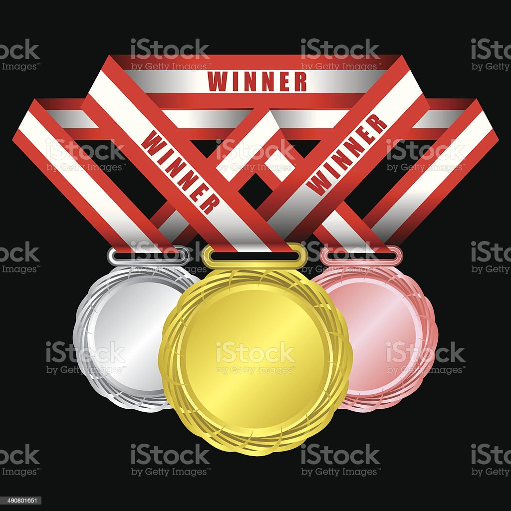 Medals - gold, silver and bronze vector art illustration