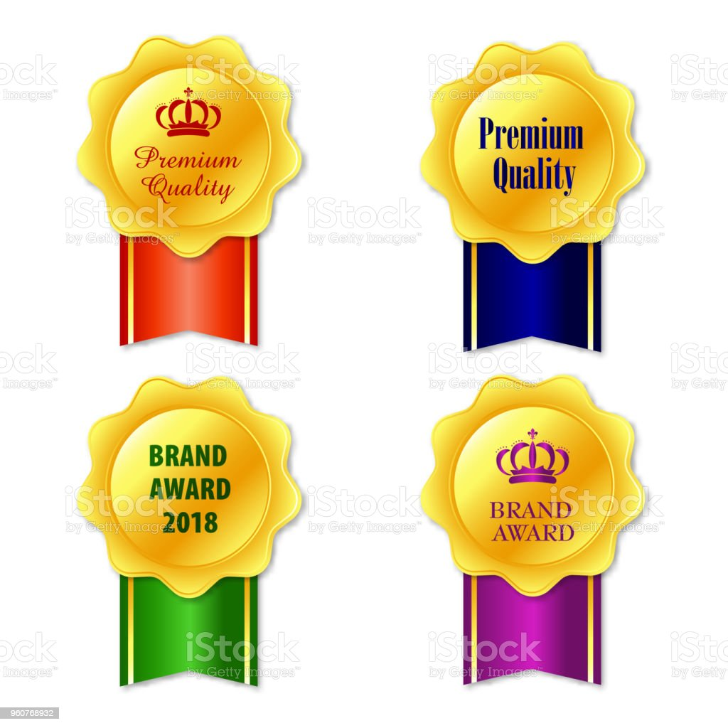 medals icon elegant golden labels collection set gold ribbon award