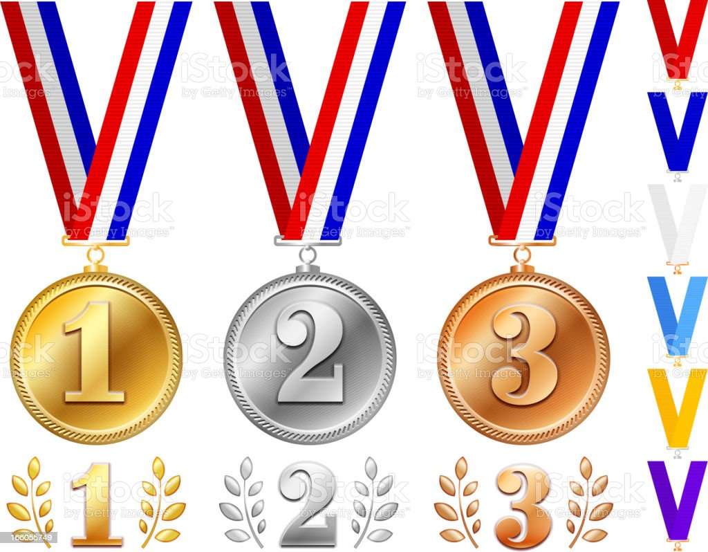 Medals in Gold, Silver and Bronze with Ribbons royalty-free stock vector art