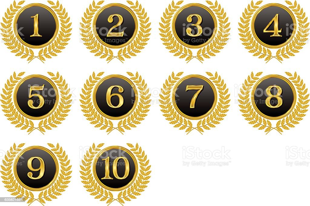 Medals, ranking, top ten. vector art illustration