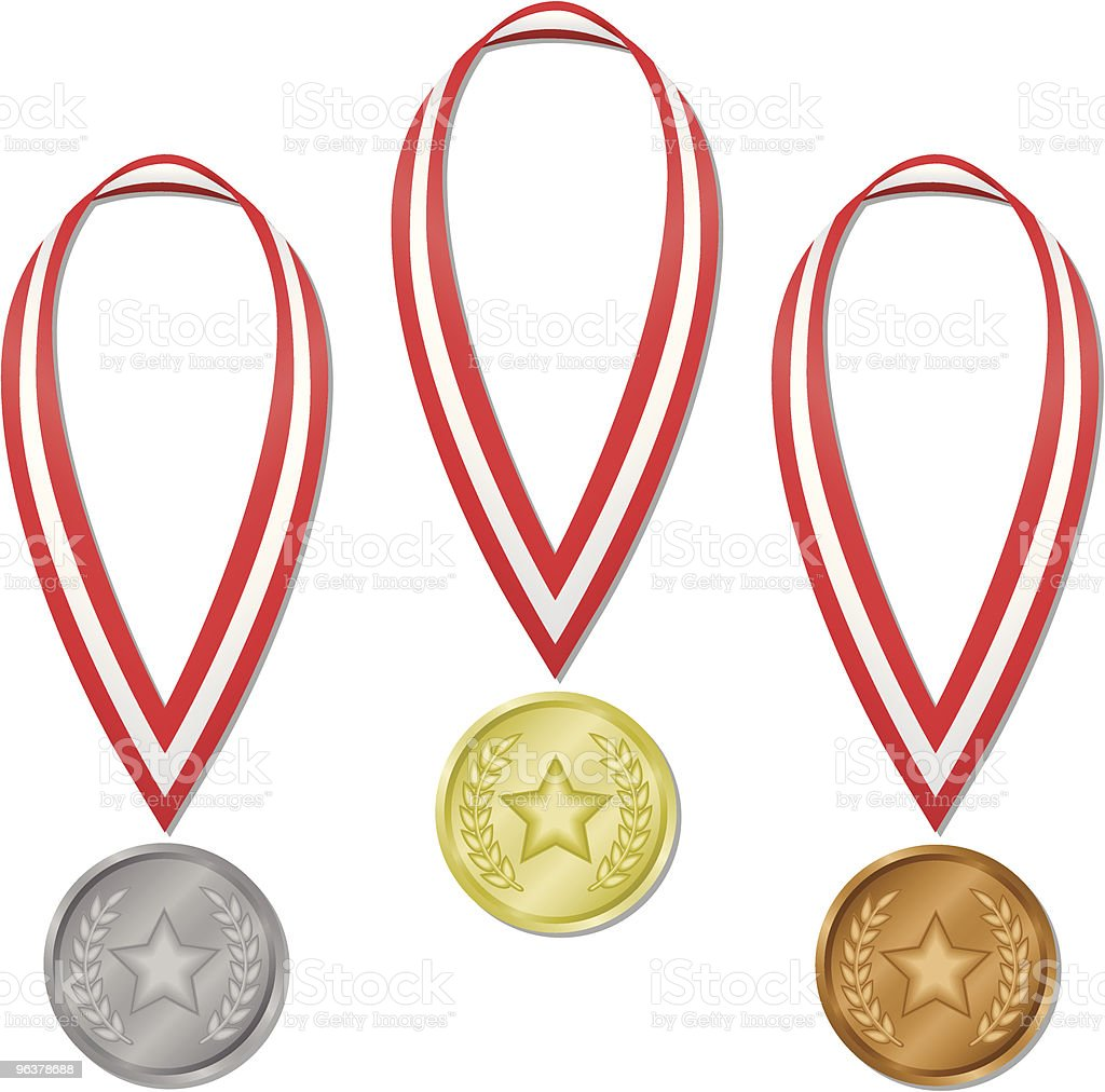 Olympic Medals – Star & Laurels royalty-free stock vector art