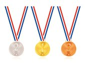 Gold, silver and bronze medals, with ribbons.
