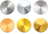 Collection of blank vector gold, silver and bronze medals. Very detailed illustration.