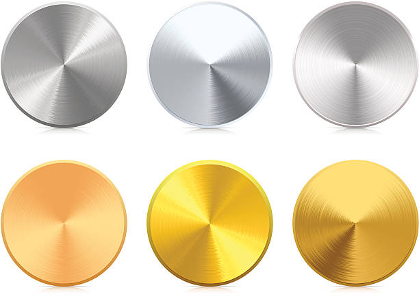 Medals Collection of blank vector gold, silver and bronze medals. Very detailed illustration. brushed metal stock illustrations