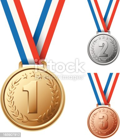 Set of Winner Medals in gold, silver and bronze colors with numbers. Global colors used.