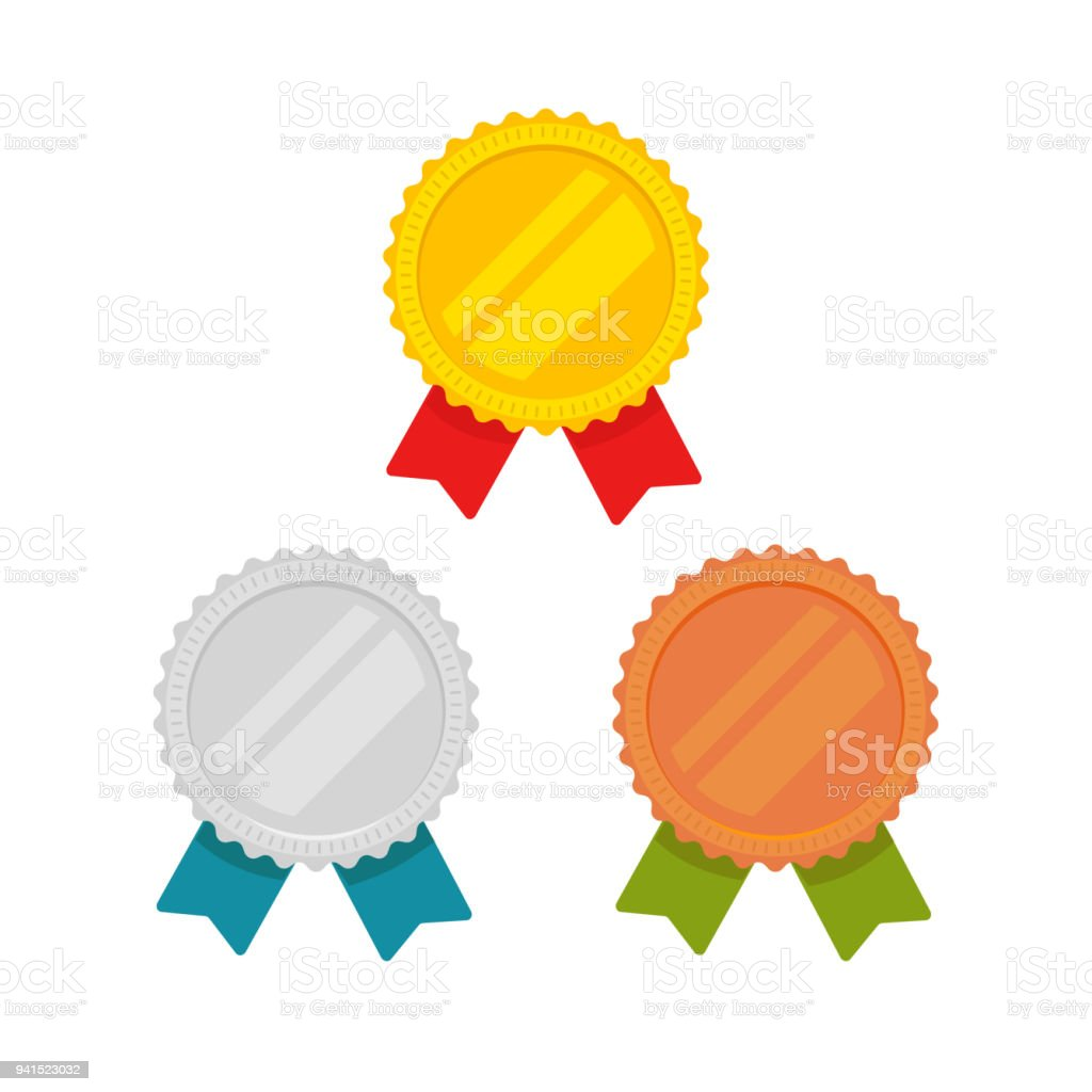Medals vector set isolated, flat cartoon gold, bronze and silver medal with red, green and blue ribbon, sport award medallions, idea of blank quality or best badge or label, guarantee emblems clipart vector art illustration