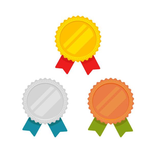stockillustraties, clipart, cartoons en iconen met medailles vector instellen geïsoleerd, platte cartoon goud, brons en zilver met rode, groene en blauwe lint, sport award medaillons, idee van lege kwaliteit of beste badge of label, garanderen emblemen clipart - lintje prijs
