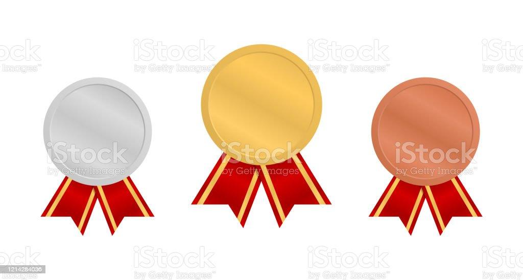 赤いリボンを持つメダル金銀銅メダル1位2位3位のメダル 3回目の出来事のベクターアート素材や画像を多数ご用意 Istock
