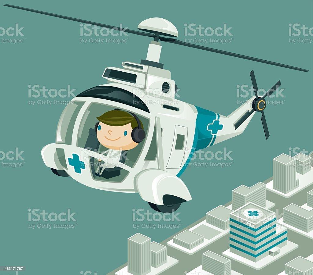 Medevac  Helicopter flying over the City vector art illustration