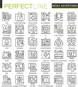 Media advertising outline mini concept symbols. Marketing advertisement promotion modern stroke linear style illustrations set. Perfect thin line icons.