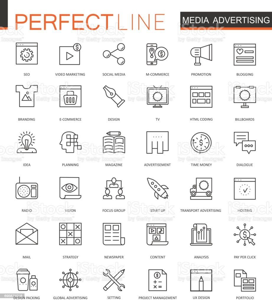 Media Advertising thin line web icons set. Outline stroke icons design.