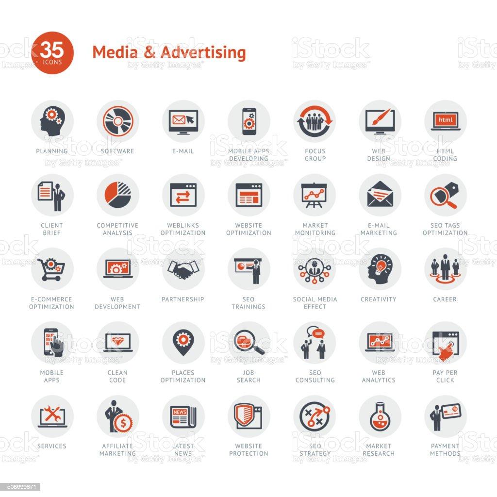 Medien und Werbung Icon Lizenzfreies medien und werbung icon stock vektor art und mehr bilder von abstrakt