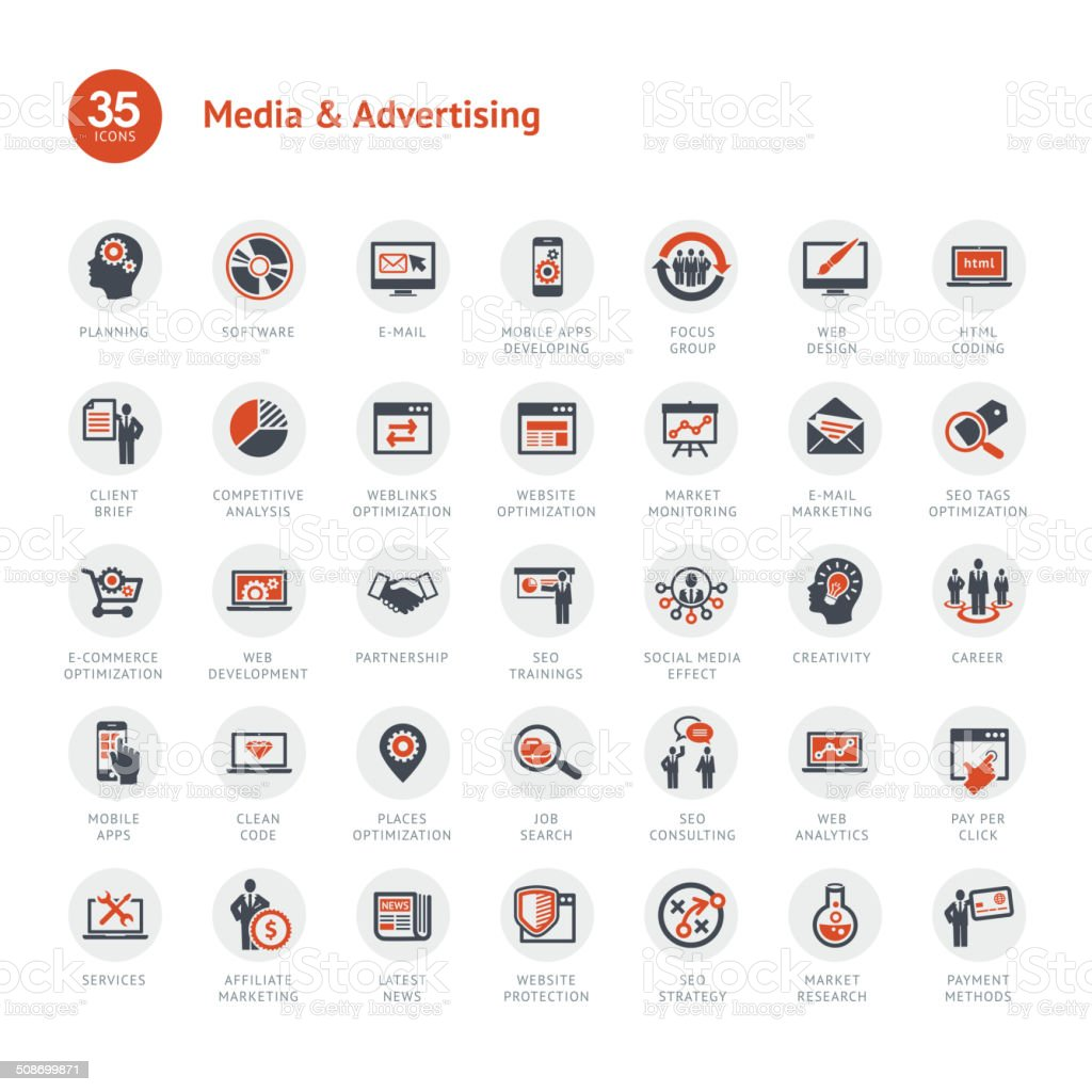 Media and Advertising icons vector art illustration