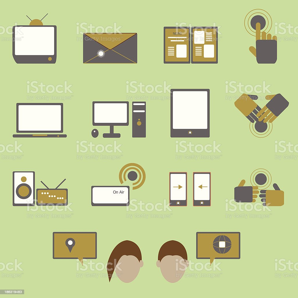 Media and communication color icons on green background royalty-free stock vector art