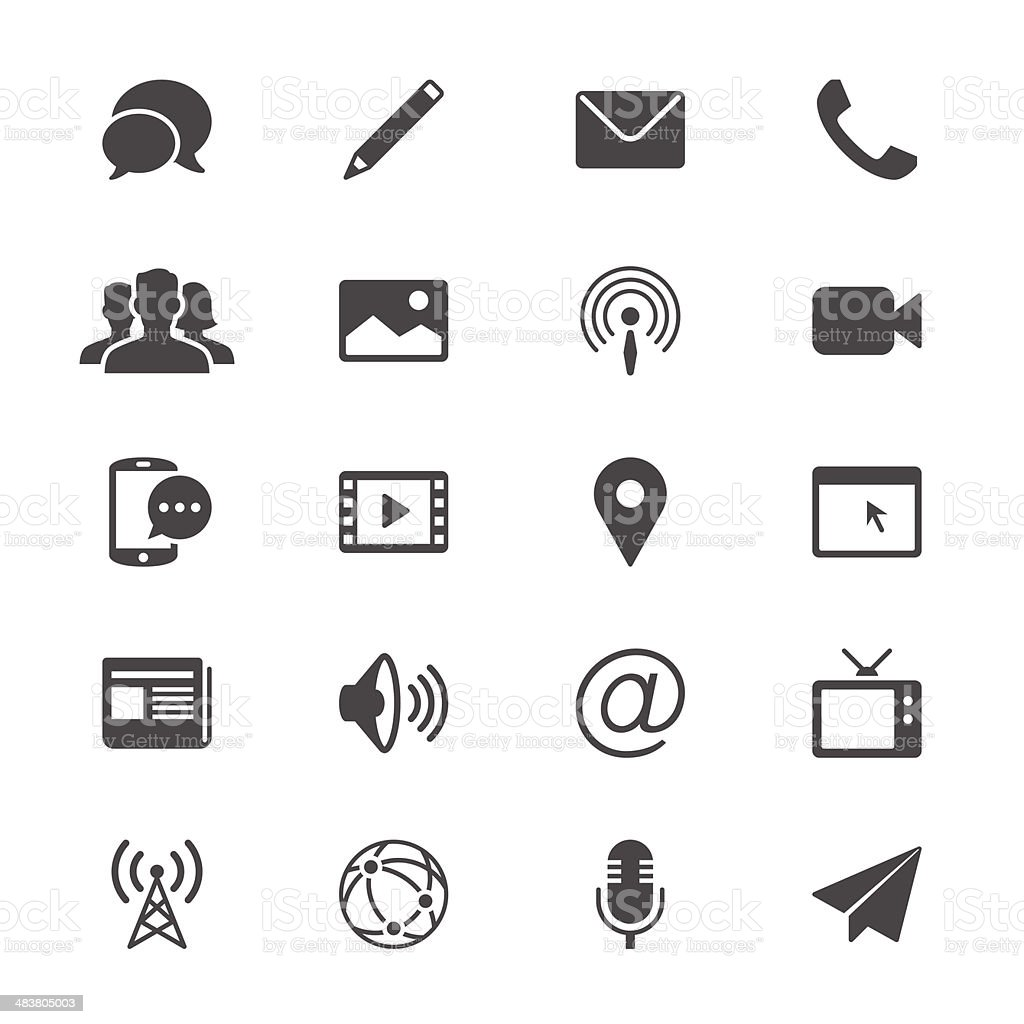 Media and communication flat icons vector art illustration