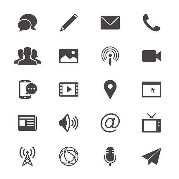Medien und Kommunikation-Symbole – Vektorgrafik